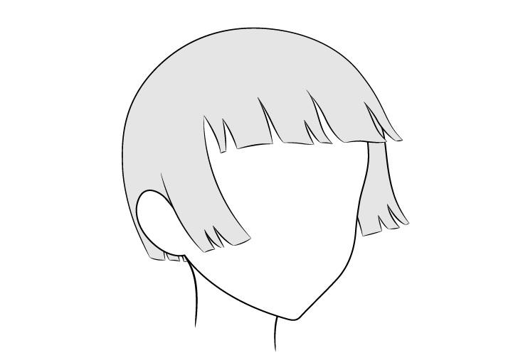 Anime rambut dipangkas bertiup angin 3/4 tampilan gambar