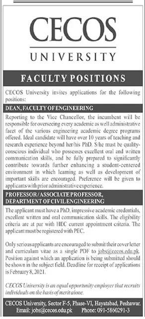 cecos-university-peshawar-jobs-2021-advertisement-application-form