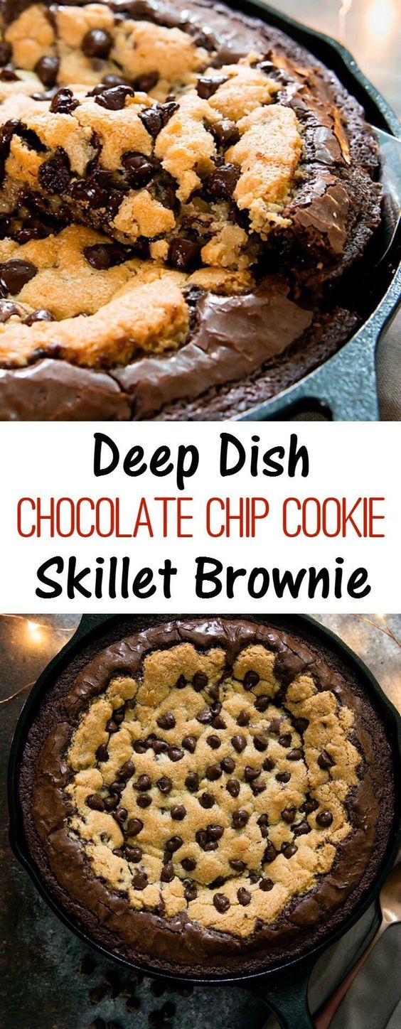 My Deep Dish Chocolate Chip Cookie Skillet Brownie has an outer skillet brownie layer with a deep chocolate chip cookie center. The result is a decadent, gooey dessert. Use the leftover batter to make brookie cups - I've included the instructions for those, too!