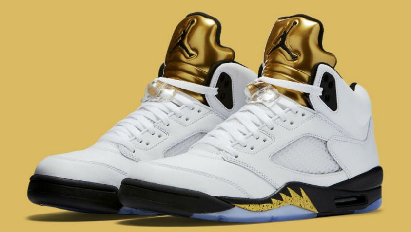 db09c4dbb6fd6c Air Jordan 5 Olympic Gold Medal Coin Sneaker (Detailed Look + Release Info)
