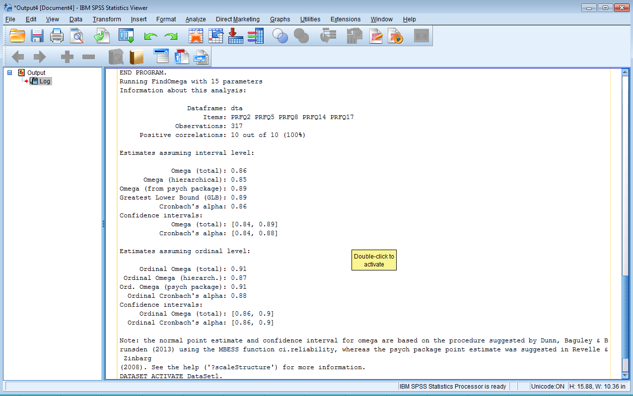 Using SPSS and R to Calculate Ordinal Alpha and Omega Internal
