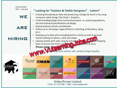 Fashion & Textile Designers Required In Sefam | Jobs In Pakistan