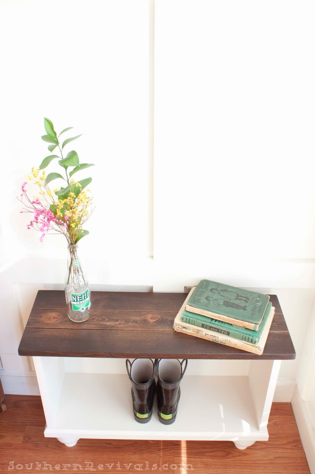 Southern revivals diy entryway bench for small spaces