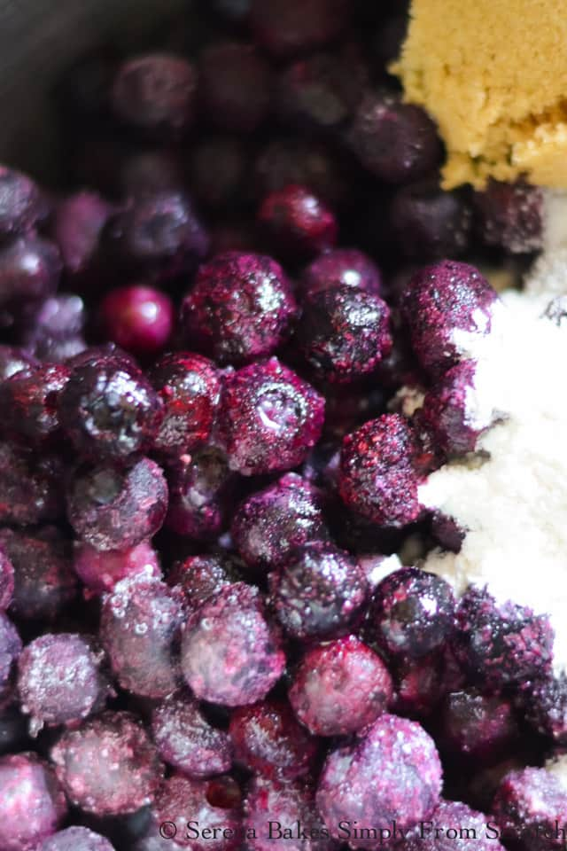 Frozen Blueberries, brown sugar, granulated Sugar, lemon juice, vanilla flour to make Blueberry Crisp filling recipe.