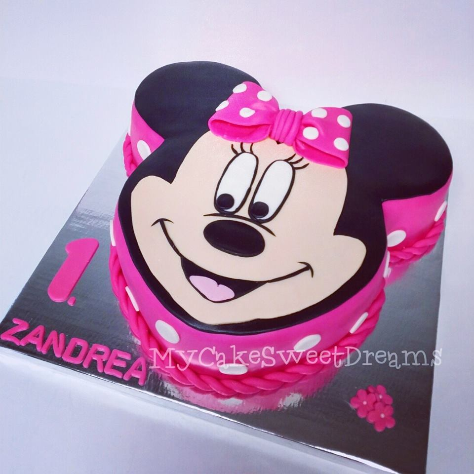 Prime Cakesbyzana Minnie Mouse 1St Birthday Cake Personalised Birthday Cards Veneteletsinfo