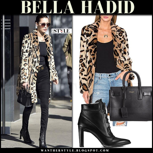 Bella Hadid in leopard print house of harlow genn coat, black jeans and black ankle boots stuart weitzman ruggy what she wore