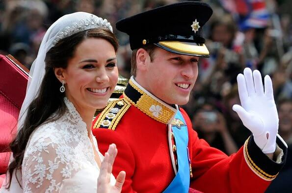 Kate Middleton and Prince William were married at Westminster Abbey. Wedding gown and diamond tiara. Meghan Markle