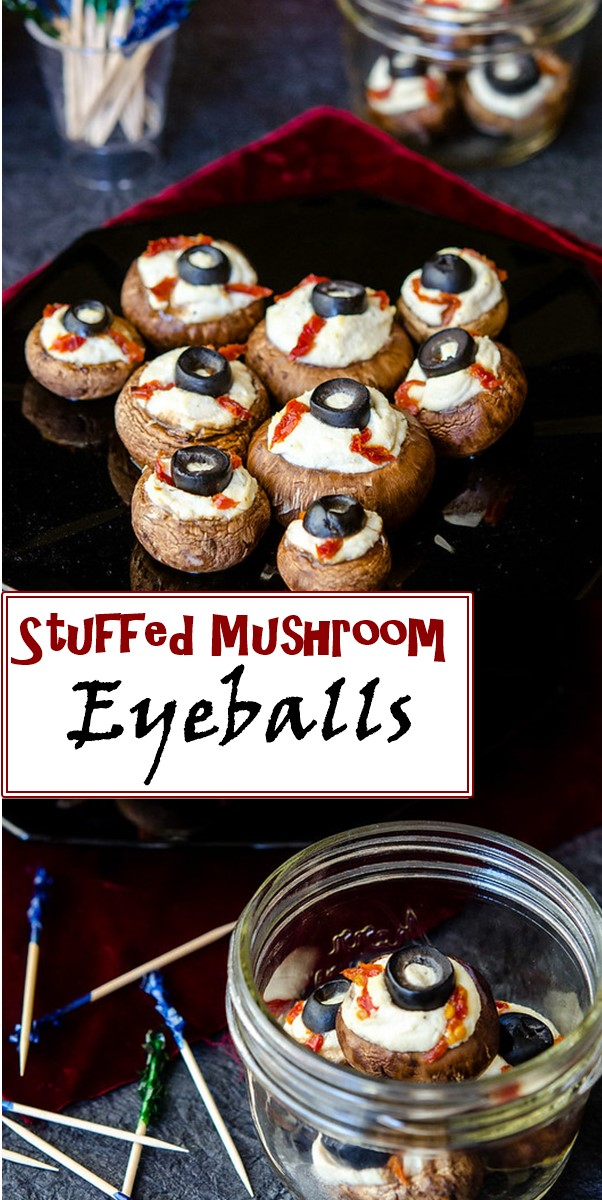Stuffed Mushroom Eyeballs #halloweenrecipes
