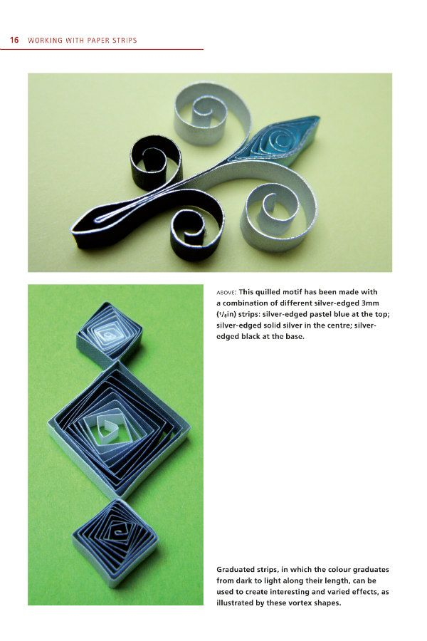 sample quilling book page that shows scrolled and vortex coil shapes in two quilled designs