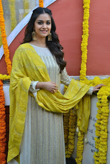 Keerthy Suresh in Yellow Dress With Cute and Lovely Smile for New Movie Launch 3