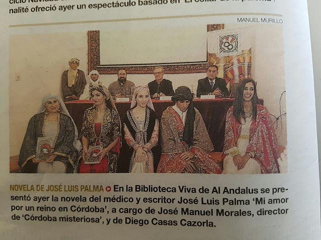 """PRESENTACIÓN DE LA NOVELA """"MI AMOR POR UN REINO EN CÓRDOBA de José Luis Palma"""