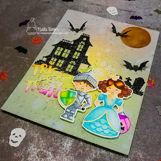 Trick or Treat Card by Nakaba Rager | Knights Quest Stamp Set, Once Upon a Princess Stamp Set, Spooky Street Stamp Set and Halloween Trio Die Set by Newton's Nook Designs #newtonsnook #handmade