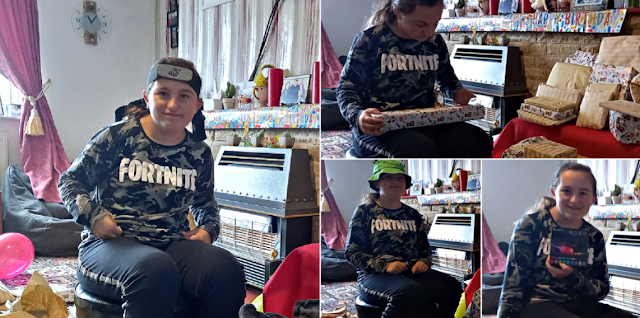 My youngest opening her birthday presents
