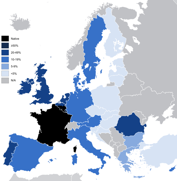 Knowledge of the French language in the EU