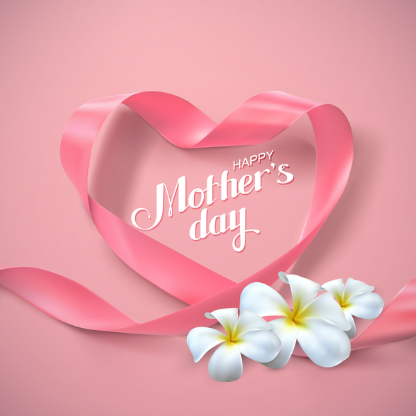 Mother's Day 8 march card with pink ribbon bows vector