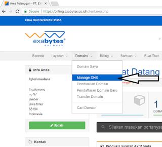 Setting Dns domain exabytes Ke Blogspot