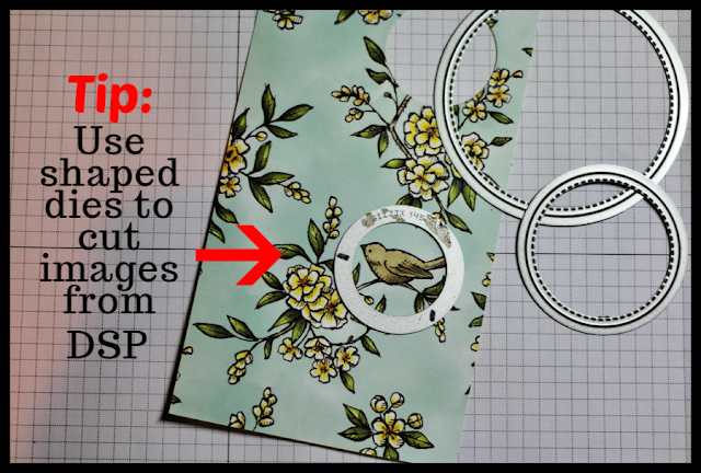 Use Stitched Shapes dies to cut images from Stampin' Up! DSP