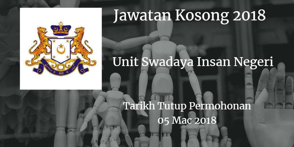 Jawatan Kosong Unit Swadaya Insan Negeri Johor 05 Mac 2018