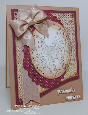 ODBD Peaceful Deer, ODBD Custom Leafy Edged Borders Dies, ODBD Custom Vintage Labels Dies, ODBD Custom Stitched Ovals Dies, ODBD Christmas Paper Collection 2015, Card Designer Angie Crockett