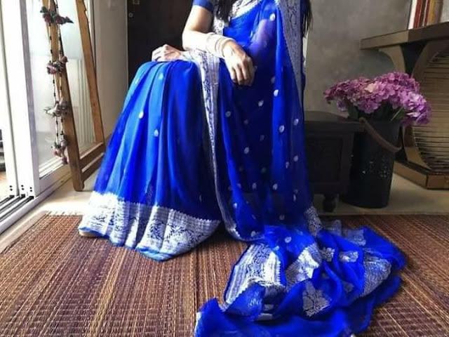Pure Georgette Chiffon khaddi silver buti royal blue colour sarees