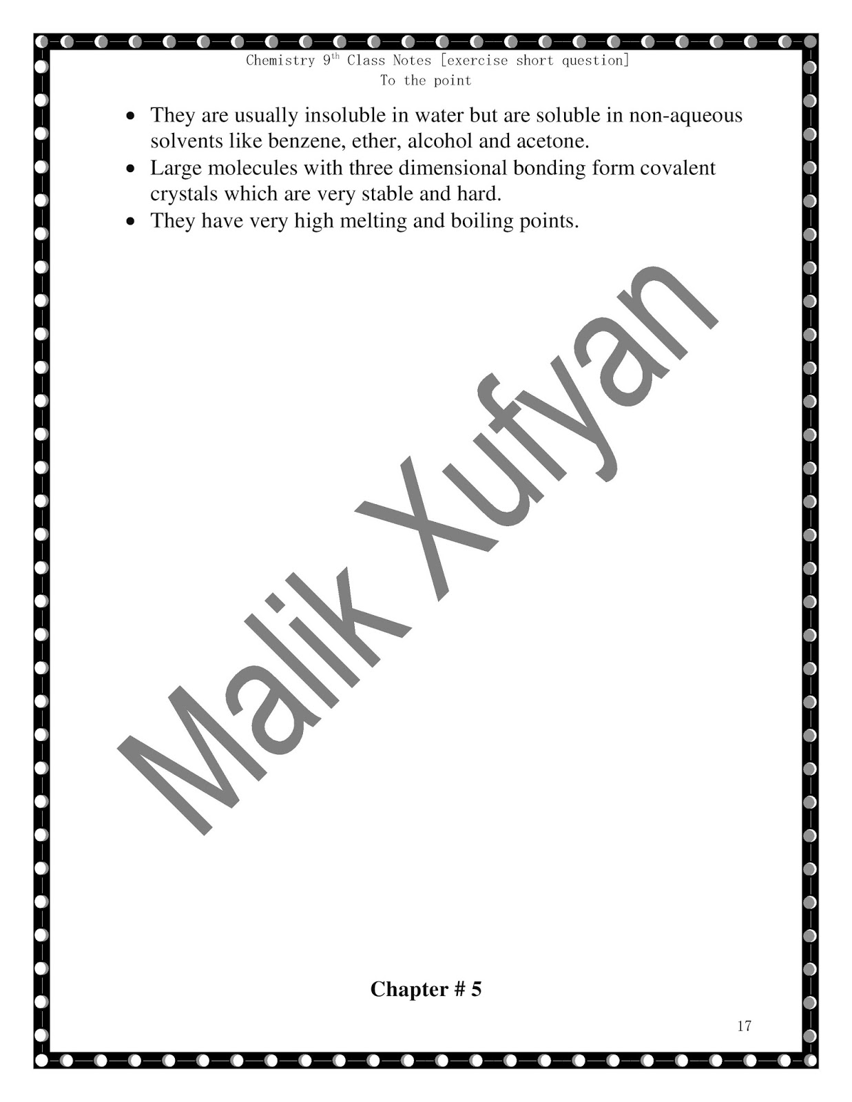 Malik Xufyan- Only Chemistry Discussion: Chemistry 9th