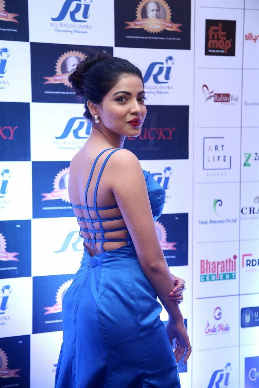 Actress Kaashima Rafi in Blue Dress at Dadasaheb Phalke Awards
