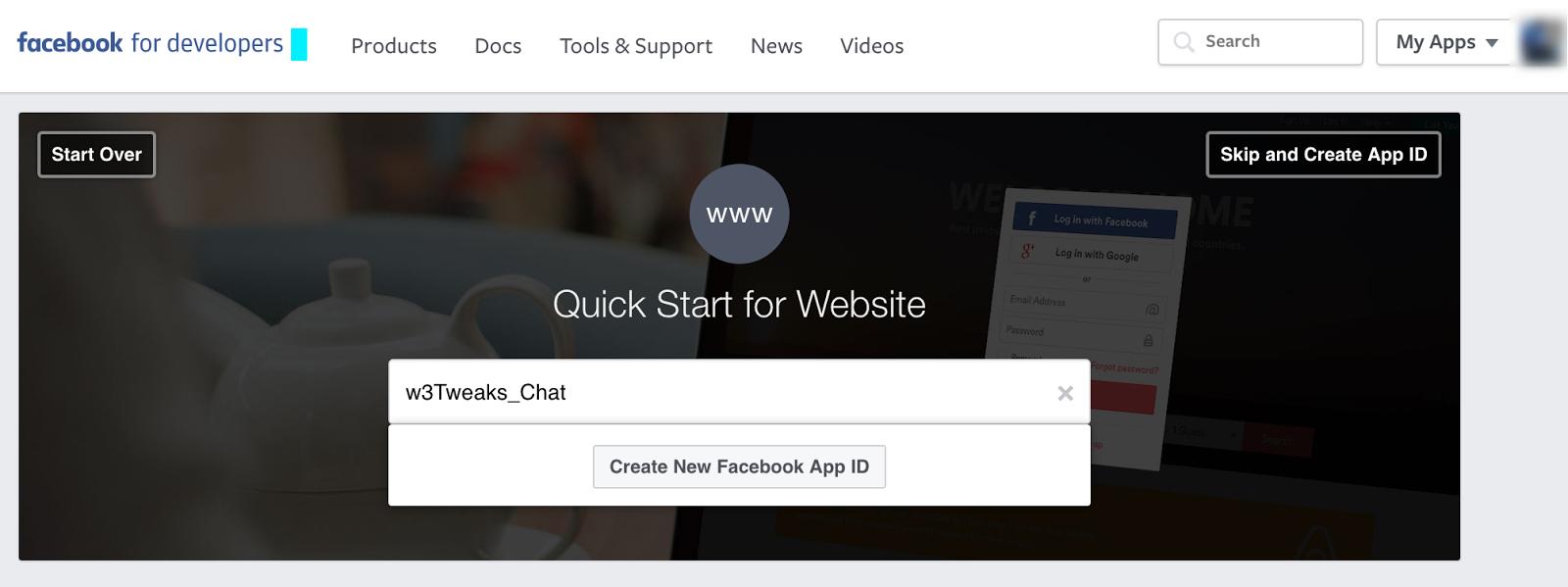 Quick Starts Facebook for Developers