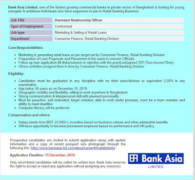 Bank Asia Limited Job Circular Apply 2019