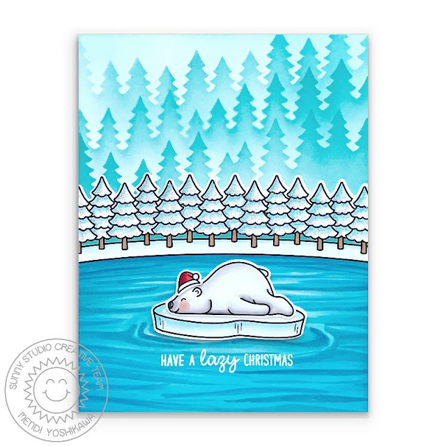 Sunny Studio Have A Lazy Christmas Sleeping Bear Winter Holiday Card (using Bear Hugs, Christmas Critters & Winter Scenes Stamps + Forest Trees Stencils)