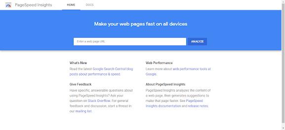 واجهة موقع page speed