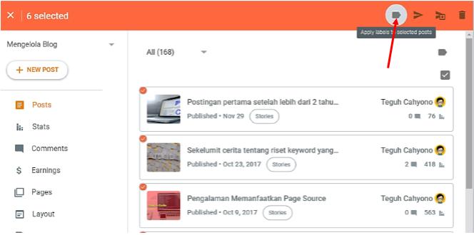 6. klik ikon label tag dibagian paling atas