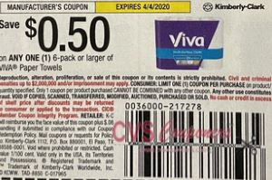 "$0.50/1 Viva Paper Towels 6 ct or larger Coupon from ""SMARTSOURCE"" insert week of 3/8/20."