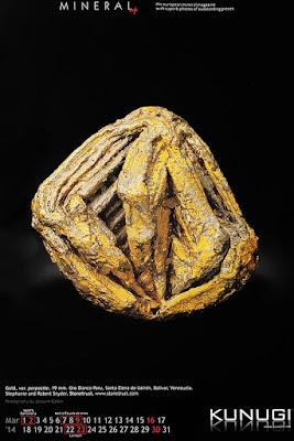 mineral, oro, calendario, porpezita, porpecita
