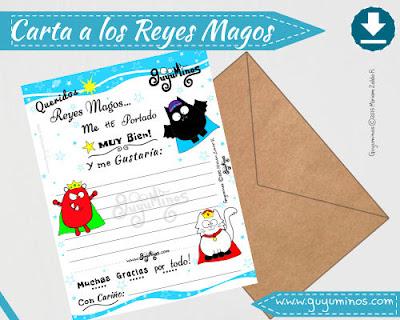 Carta a los Reyes Magos 6 de Enero, descargable en guyuminos.com