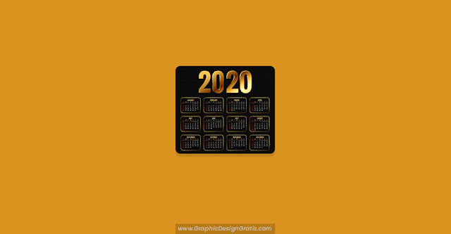 Calendario 2020 gratis color dorado