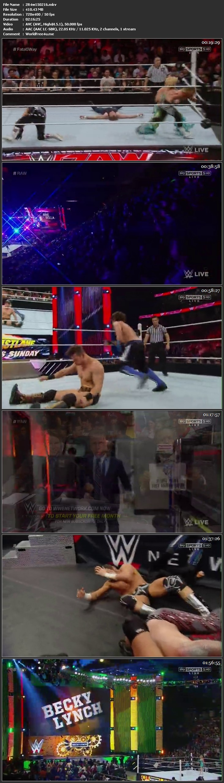 Screen Shot WWE Monday Night Raw 15th February 2016 HDTV 480P 400MB