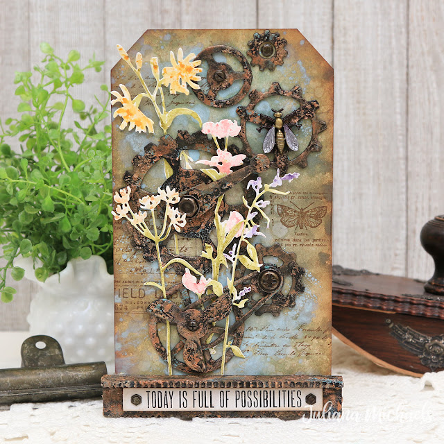 Full of Possibilities Tag by Juliana Michaels featuring Tim Holtz Mechanical Bigz and Wildflower Stems 3 Thinlits