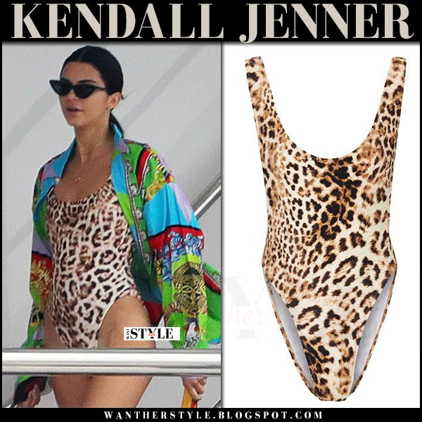 Kendall Jenner in leopard print swimsuit norma kamali on a yacht what she wore may 22 2017