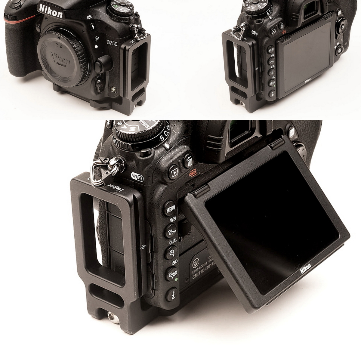 Hejnar PHOTO ND750 L bracket on Nikon D750 front - side - rear views