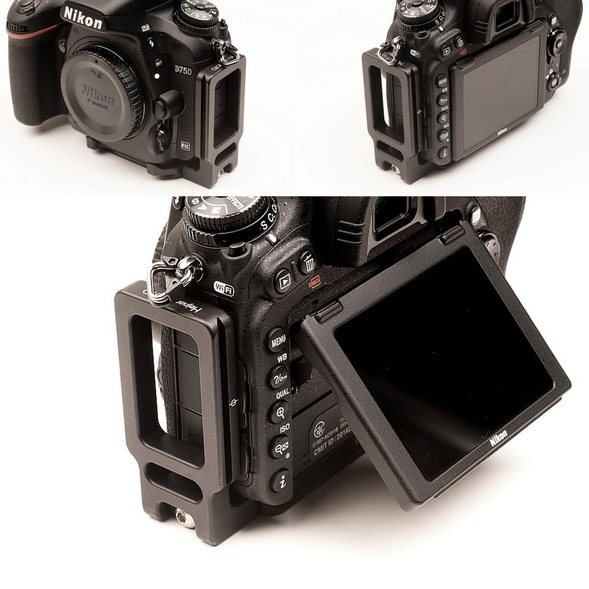 Hejnar PHOTO ND750 L bracket on Nikon D750 front - side - rear views