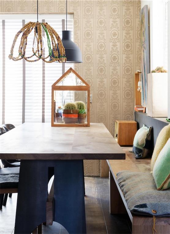 office de cocina con cojines de franela color amarillo chicanddeco