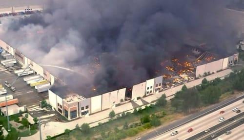 A massive fire destroys the Amazon warehouse in California