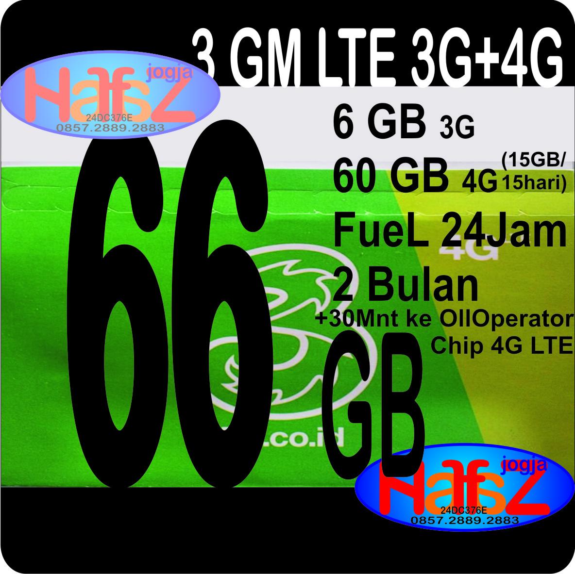 Halfaz Jogja Tri Lte 66gb 6gb 60gb 4g Jan17 Paket Aon 2gb 1gb Dan Extra Spesifikasi Chip 64kb Total Kuota 66 Gb 6 Di 3g 60 Berikan 15gb 15 Hari