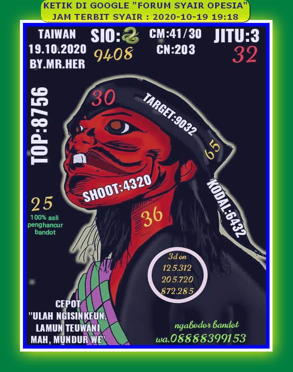 Kode syair Hongkong senin 19 oktober 2020 60