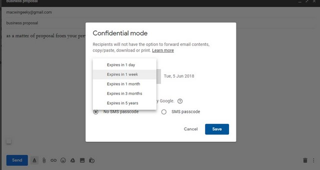 confidential mode is turned on with settings