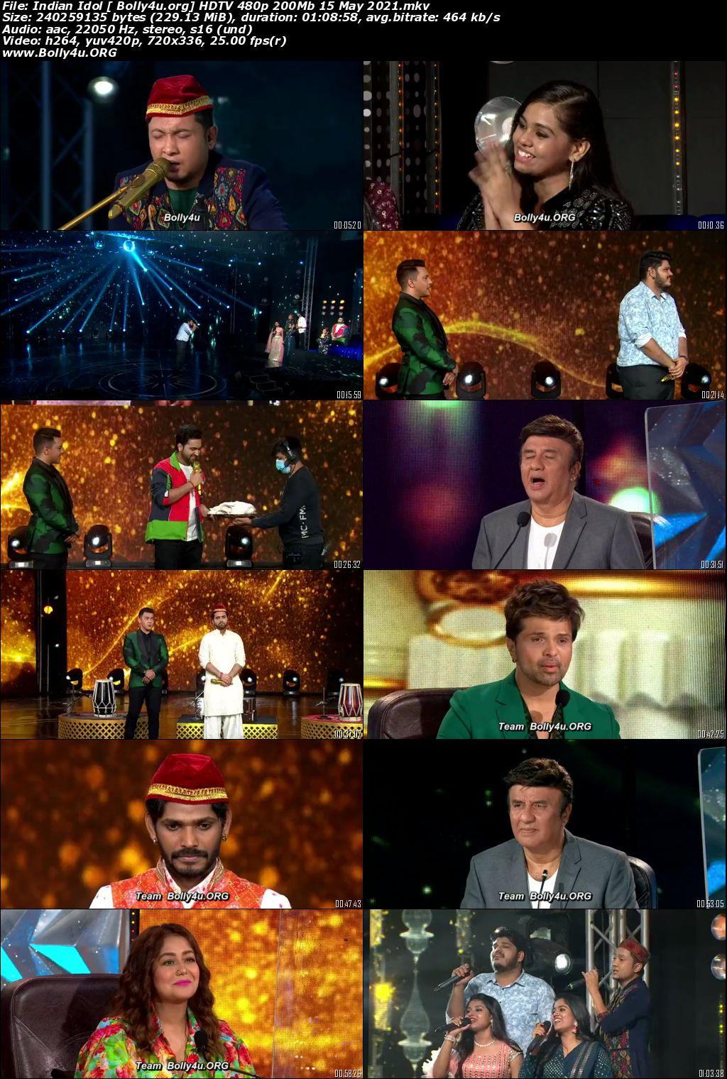 Indian Idol HDTV 480p 200Mb 15 May 2021 Download