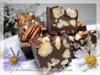 Fudge au chocolat, noix de pécan et noisettes, sans lactose, sans gluten