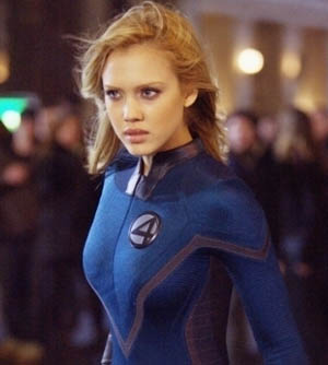 Jessica Alba in her skintight catsuit as Invisible Woman in Fantastic Four movieloversreviews.blogspot.com
