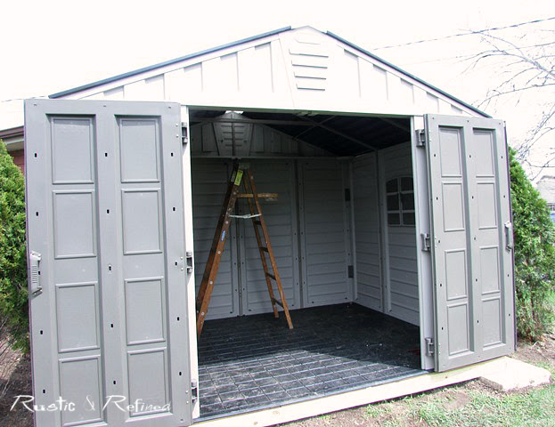Adding a she shed for a backyard makeover to the garden.