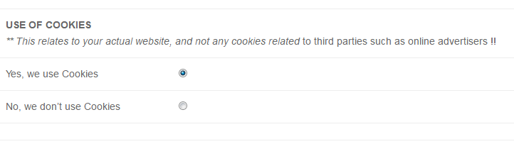 COOKIE USE IN PRIVACY POLICY